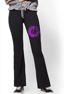 Yoga Pants - Turner Syndrome Ribbon & Butterflies - thegiftkornershop