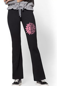 Yoga Pants - Cancer Awareness Flower & Ribbon - thegiftkornershop