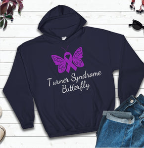Hooded Sweatshirt - Turner Syndrome Butterfly with Light Grey Text - thegiftkornershop