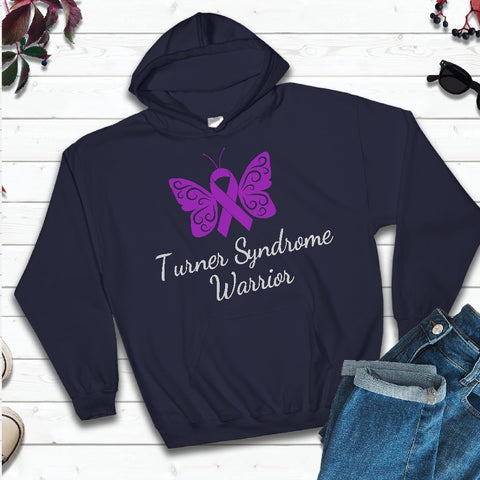Hooded Sweatshirt - Turner Syndrome Warrior with Light Grey Text - thegiftkornershop