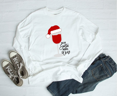 Long Sleeve Shirt - Dear Santa Bring Wine - thegiftkornershop