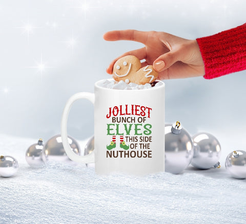 Mug 15oz. - Jolliest Bunch Of Elves This Side Of The Nuthouse - thegiftkornershop