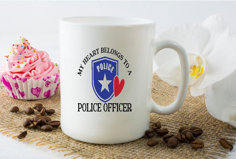 Mug 15oz. - My Heart Belongs To A Police Officer - thegiftkornershop