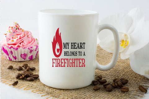 Mug 15oz. -My Heart Belongs To A Firefighter - thegiftkornershop