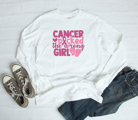 Long Sleeve Shirt - Cancer Picked The Wrong Girl - thegiftkornershop