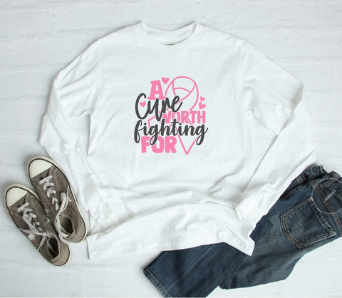 Long Sleeve Shirt - A Cure Worth Fighting For - thegiftkornershop
