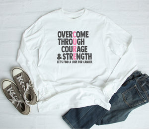 Long Sleeve Shirt - Overcome Through Courage & Strength - thegiftkornershop