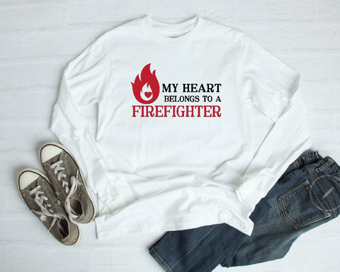 Long Sleeve Shirt - My Heart Belomgs To A Firefighter - thegiftkornershop