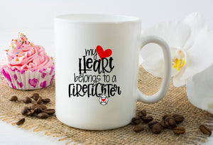 Mug 15oz. - My Heart Belongs To A Firefighter