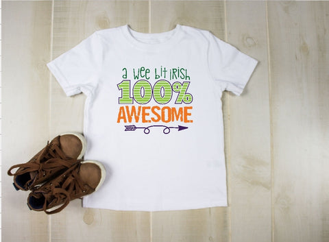 Youth T-Shirt - A Wee Bit Irish 100% Awesome