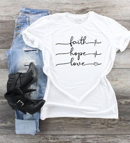 T-Shirt - Faith Hope Love (V-Neck or Unisex Classic Fit)