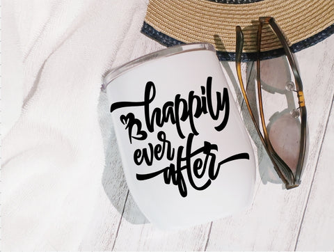 Stainless Steel Stemless Wine Glass/Mug 12oz. - Happily Ever After