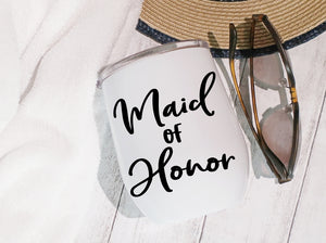 Stainless Steel Stemless Wine Glass/Mug 12oz. - Maid Of Honor