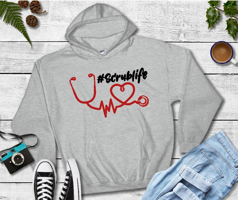 Hooded Sweatshirt - #ScrubLife