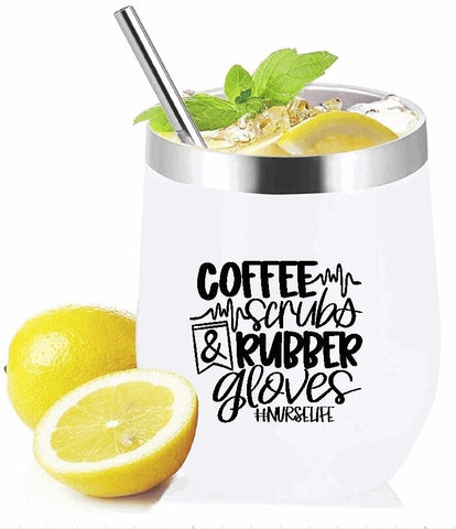 Stemless Wine Glass/Mug Tumbler 12oz. - Coffee Scrubs & Rubber Gloves #nurselife
