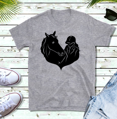 T-Shirt -  A Girl & Her Horse (V-Neck or Unisex Classic Fit) - thegiftkornershop