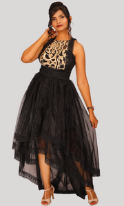 Black High Low Party Wear Dress
