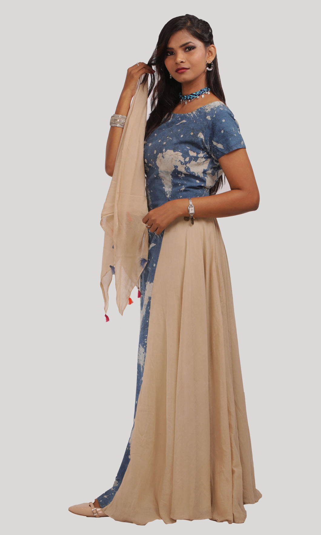 Blue Beige Printed Daily Wear Kurti