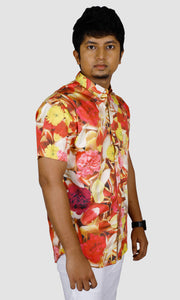 Men Floral Printed Slim Fit Casual Shirts