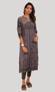 Women Grey Foil Printed Daily Wear Kurti