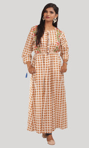 Brown White Checked Daily Wear Kurti