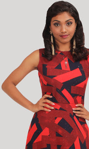 Red Blue Geometrical Party Wear Gown