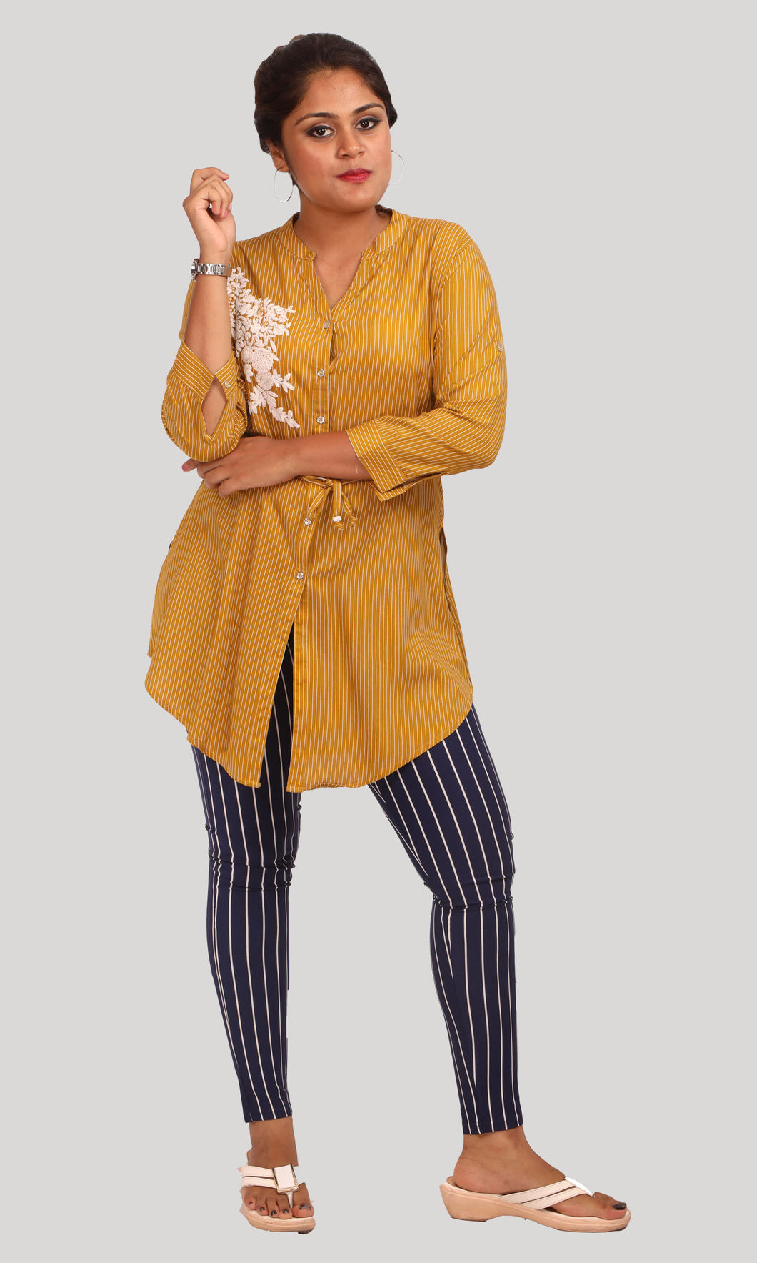 Mustard Yellow Stripped Western Shirts