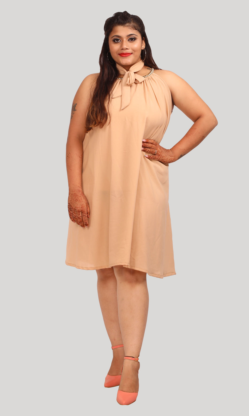 Beige Loose Fit Trendy Party Wear