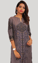 Load image into Gallery viewer, Women Grey Foil Printed Daily Wear Kurti