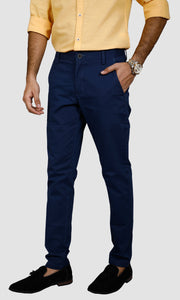 Men Blue Ankle Length Chinos