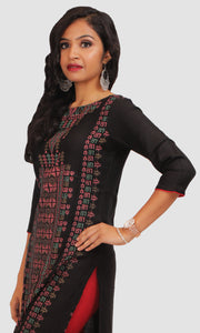 Women Black Block Print Daily Wear Kurti