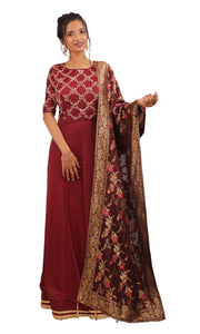 The Mystic Maroon Anarkali gown Ready to wear