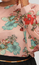 Load image into Gallery viewer, Pink Floral Crop Western Top