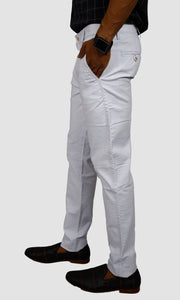 Men White Linen Regular Fit Chinos