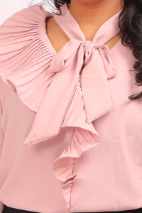Pink Ruffled Neck Western T shirts