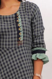 Blue Green Checked Maxi Daily Wear
