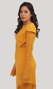 Mustard Yellow Trendy Party Wear Gown