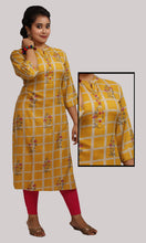 Load image into Gallery viewer, Women Yellow Checked Daily Wear Kurti