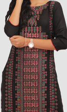 Load image into Gallery viewer, Women Black Block Print Daily Wear Kurti