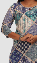 Load image into Gallery viewer, Women Blue Green Geometric Printed Daily Wear Kurti