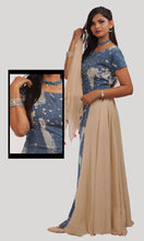 Load image into Gallery viewer, Blue Beige Printed Daily Wear Kurti