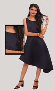 Dark Blue High Low Western Dress