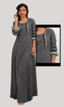 Load image into Gallery viewer, Blue Green Checked Maxi Daily Wear
