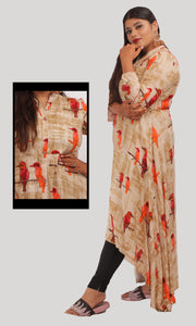 Beige High Low Printed Daily Wear Kurti