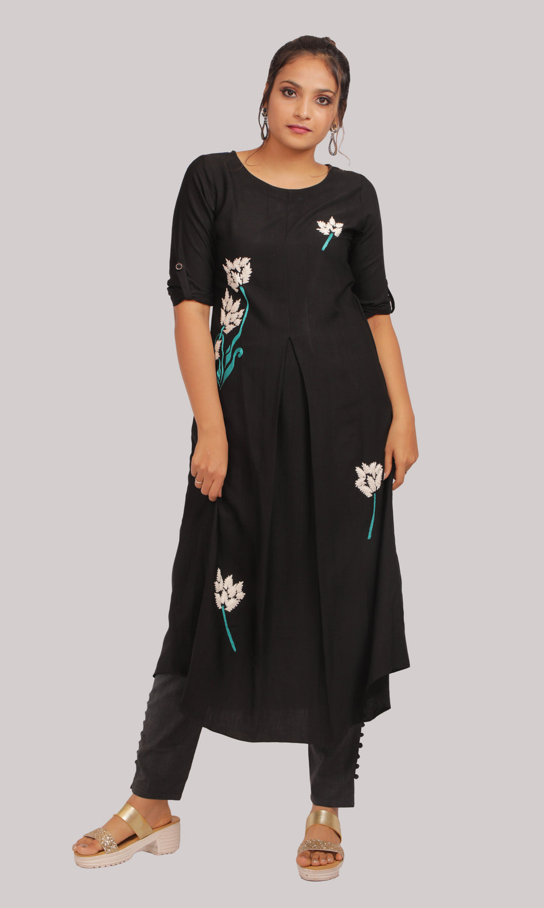 Women A-Line Black Daily Wear Kurti