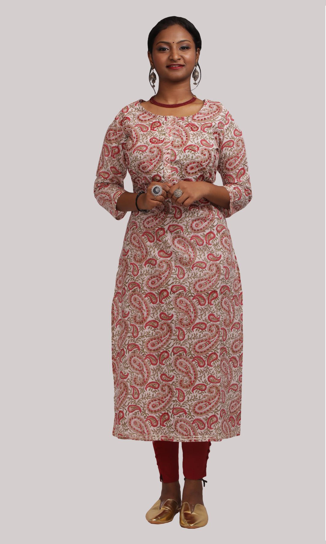 Women Cream And Red Kalamkari Printed Daily Wear Kurti