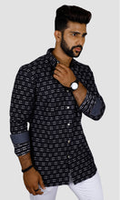 Load image into Gallery viewer, Men Dotted Stripped Slim Fit Casual Shirts