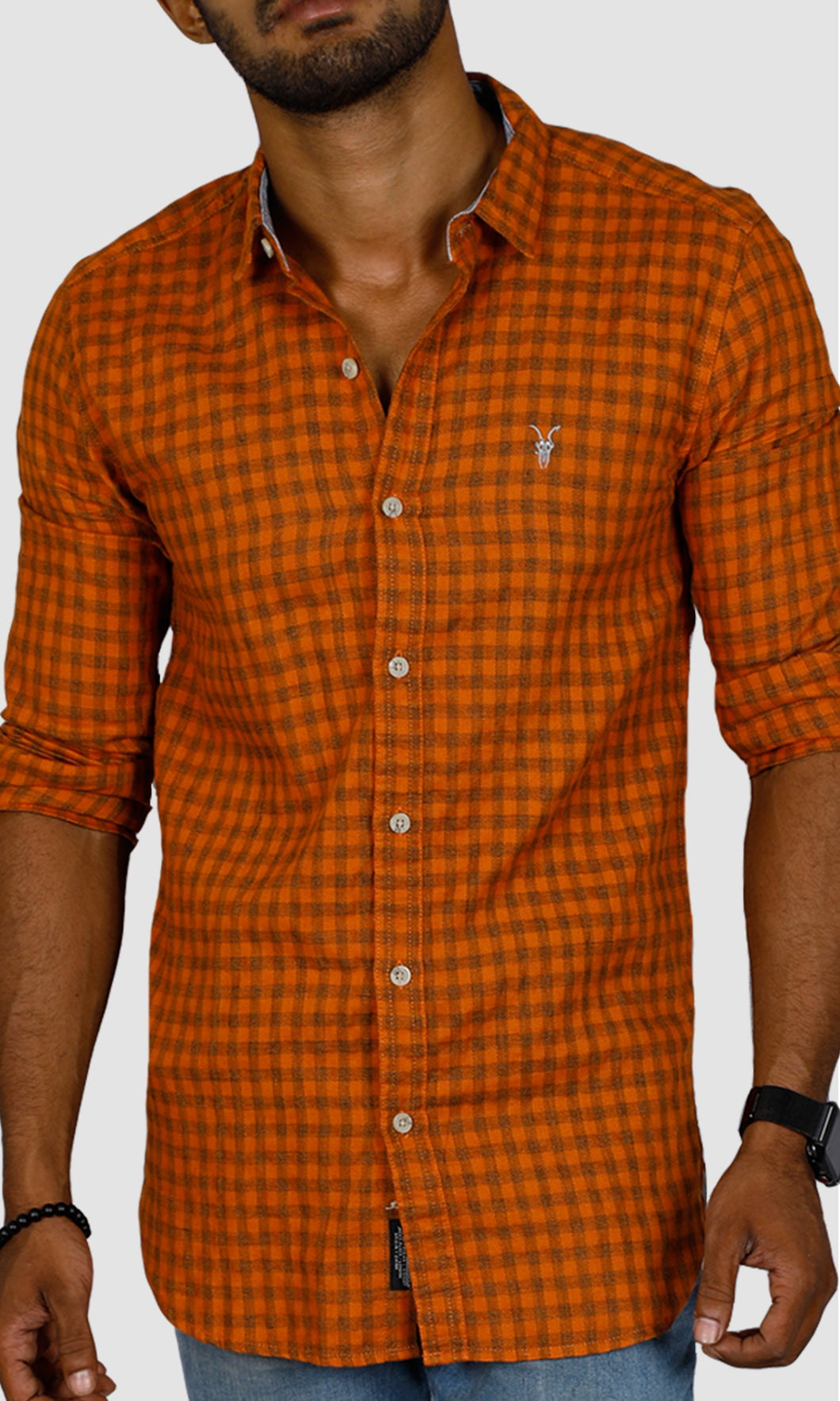 Men Orange Brown Checked Slim Fit Casual Shirts