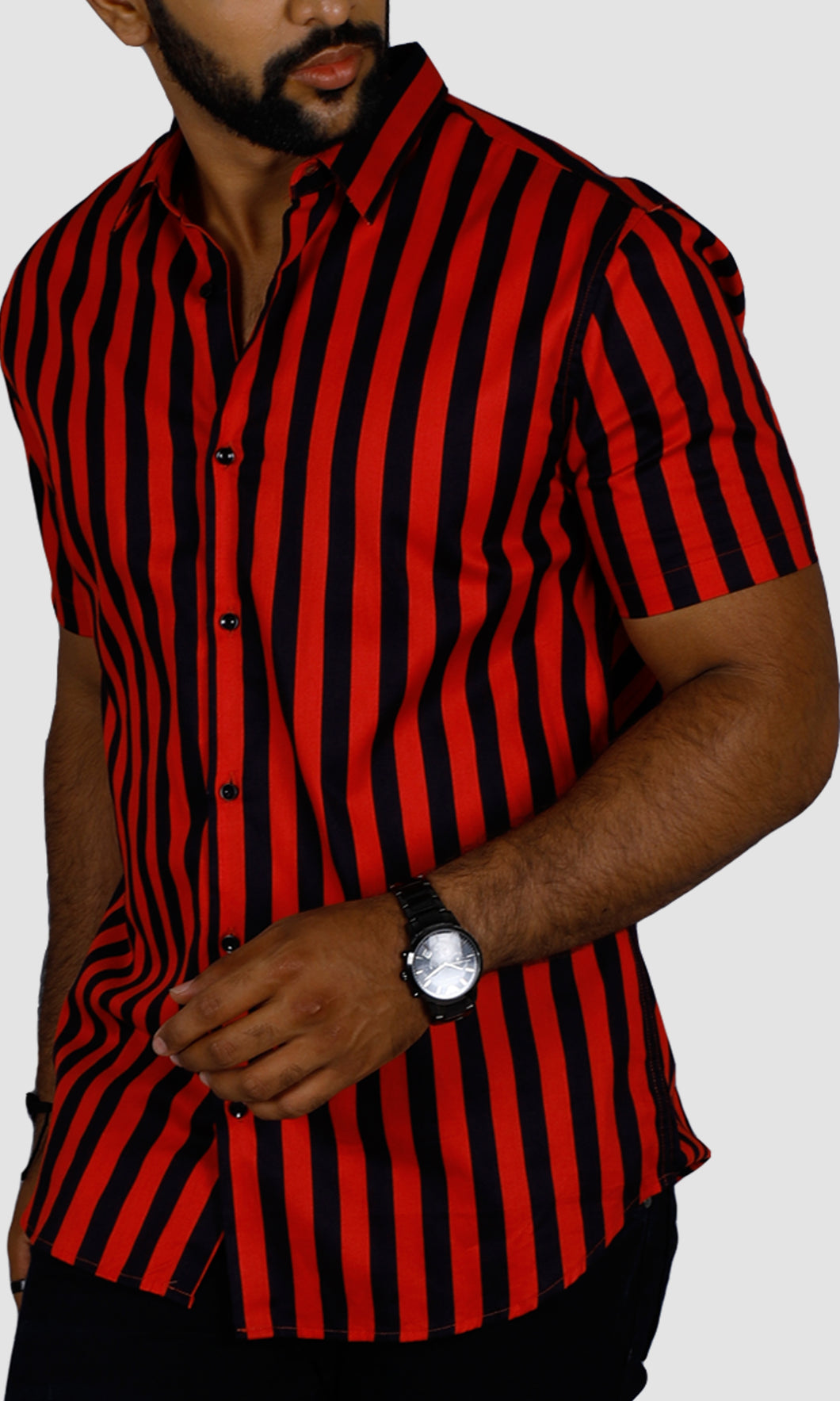 Men Red Black Striped Casual Shirts
