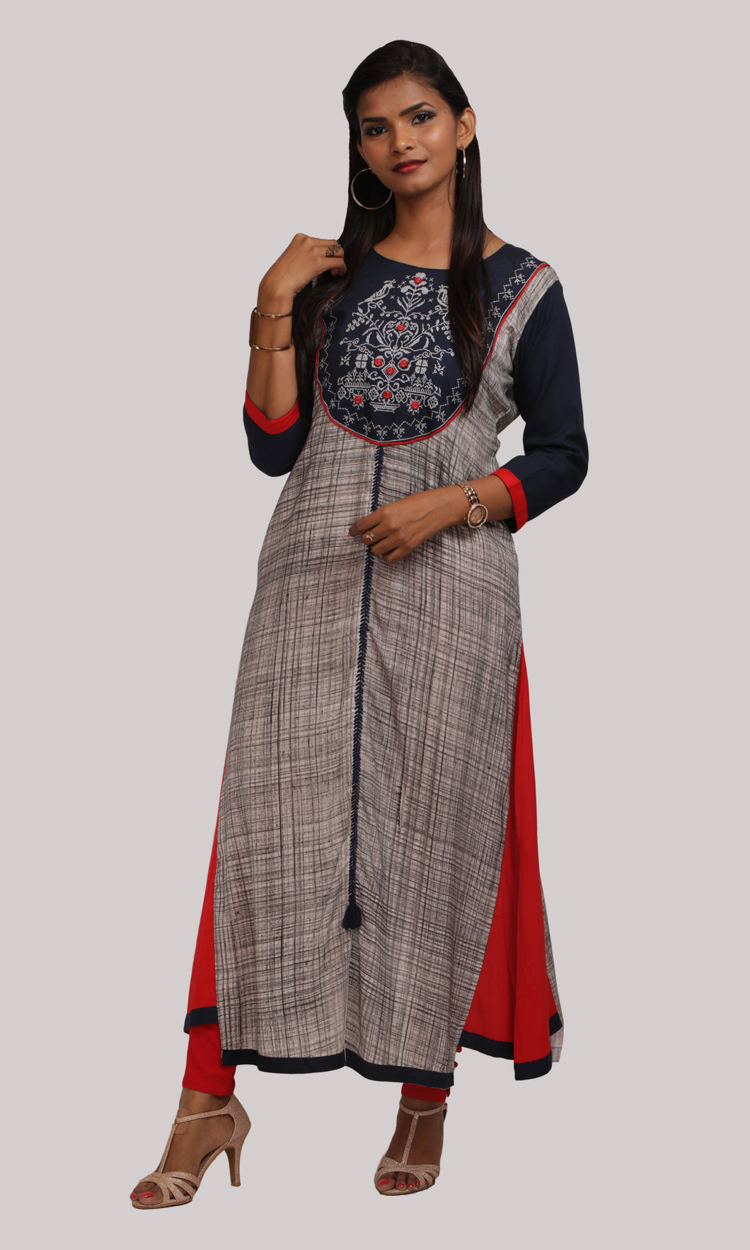 Women Blue And Red A-Line Daily Wear Kurti